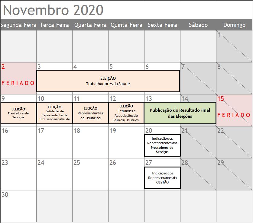 Calendario ELEIÇÕES Novembro
