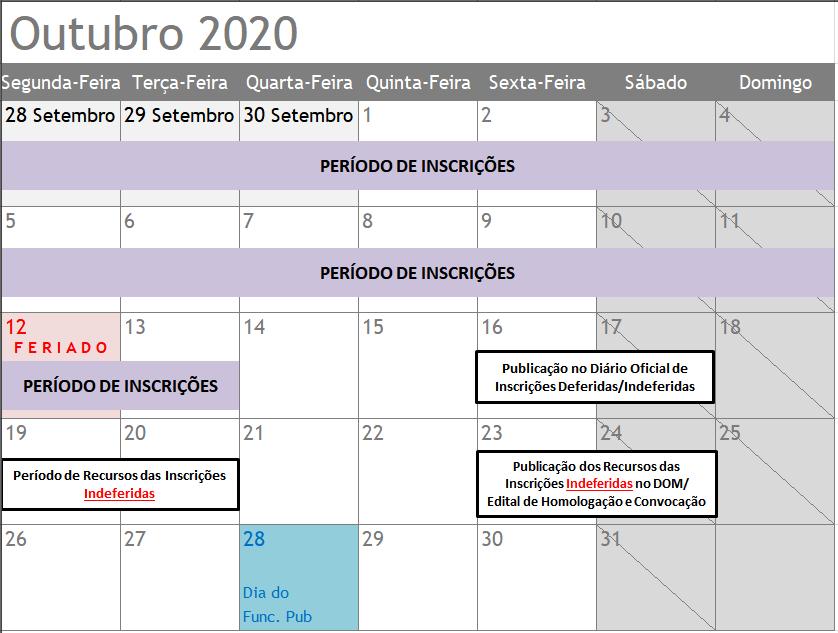 Calendario ELEIÇÕES Outubro